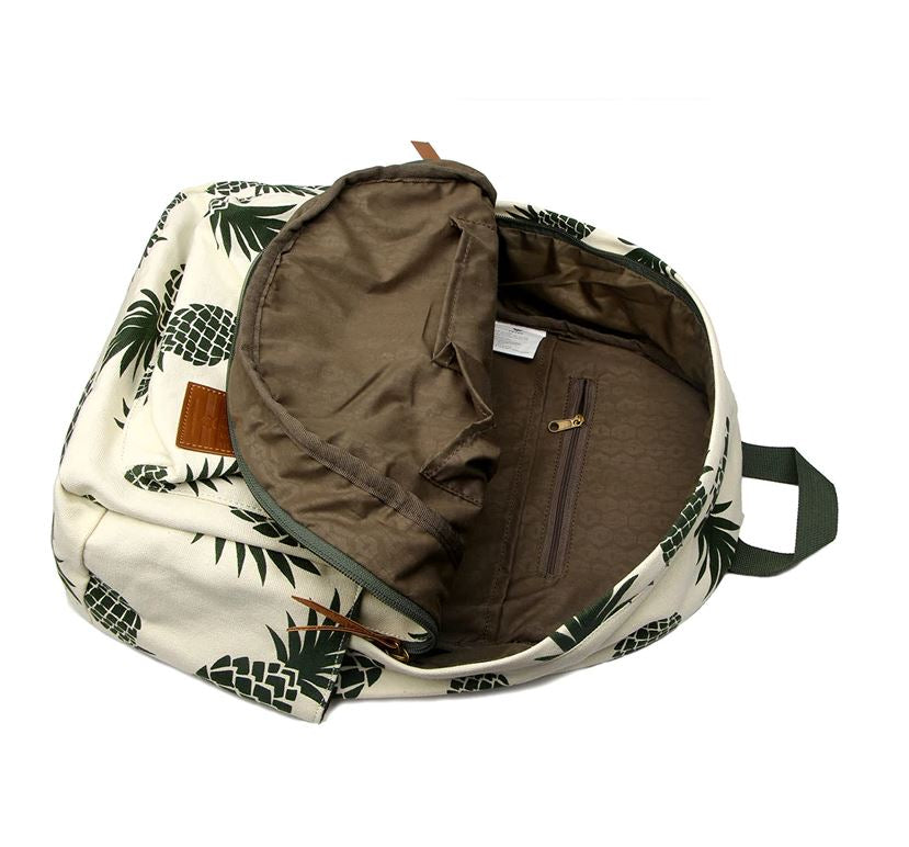 Pineapple spotted backpack with brown inside exposed