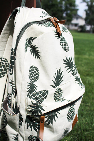 Pineapple spotted backpack outside