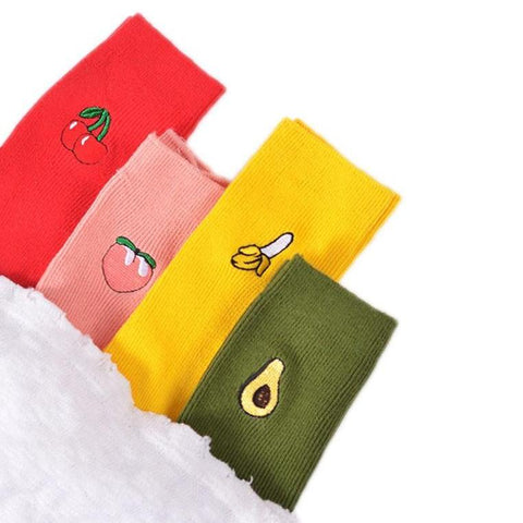 Cartoon Fruit Print Socks