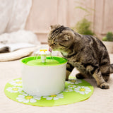 Green 1.6L Flower Style New Automatic Cat Drinking Fountain