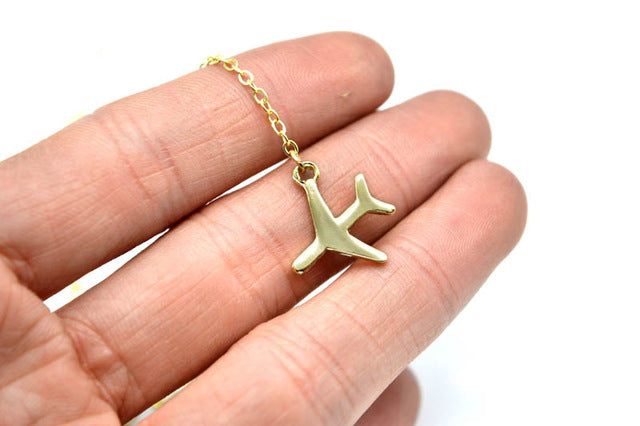 Silver Airplane Pendant with 43+5cm Adjustable Chain