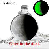 New Glowing in the Dark Full Glowing Moon Necklace