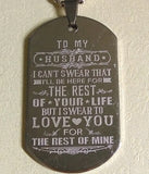 To My HUSBAND / BOYFRIEND Stainless Steel Pendant Necklace