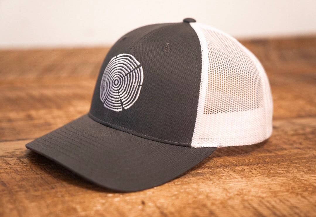 Tree Ring Trucker Hat - Charcoal/White