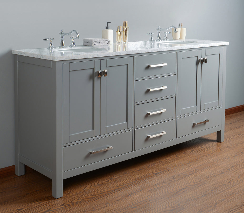Stufurhome 72 Inch Malibu Grey Double Bathroom Vanity Gm 6412 72gy