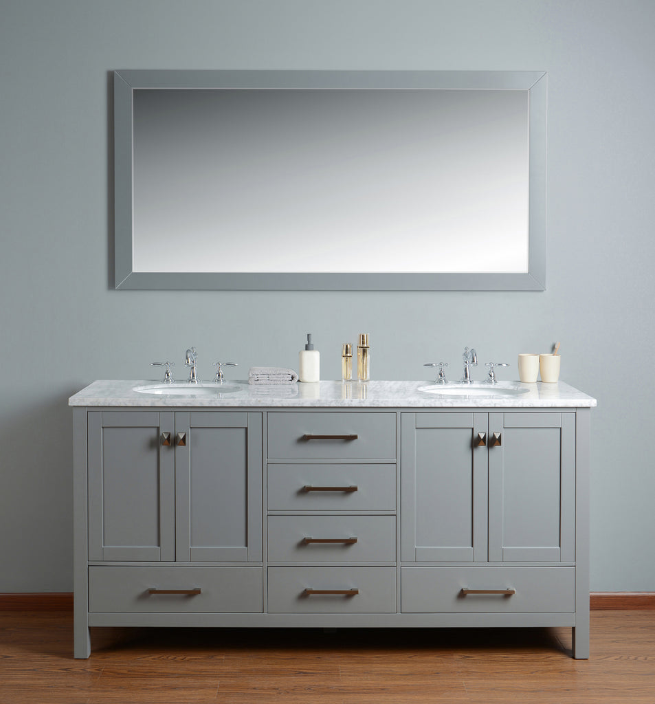 Stufurhome 72 Inch Malibu Double Sink Bathroom Vanity With Mirror
