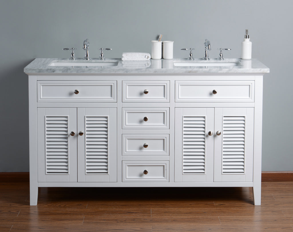 Stufurhome Genevieve 60 Inch Double Vanity Cabinet w/ Bathroom Sinks ...