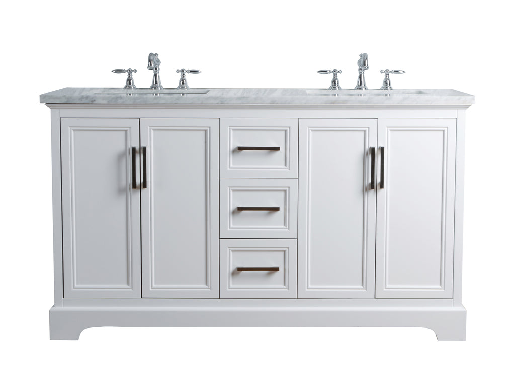 Stufurhome Ariane 60 Inches White Double Vanity Cabinet Dual Sinks