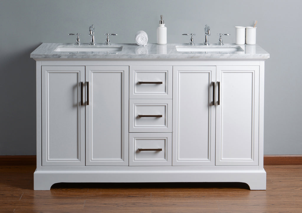 ... Stufurhome Ariane 60 Inches White Double Vanity Cabinet Dual Sinks ...
