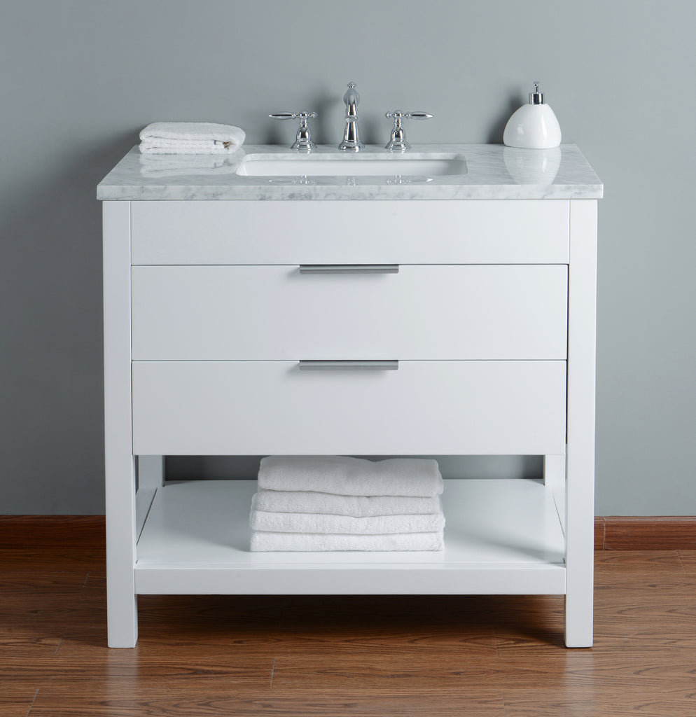 white single bathroom vanity. 36 Inches Stufurhome Rochester Single Bathroom Vanity White Three Predrilled Faucet Holes
