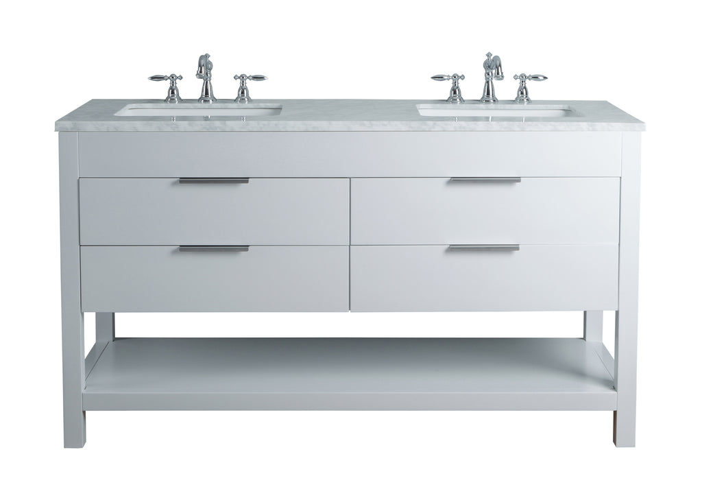 60 Inches Stufurhome Rochester White Double Sink Bathroom Vanity ...