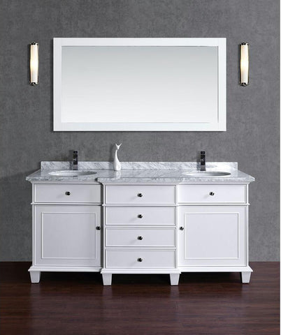 Stufurhome Cadence White 72 Inch Double Bathroom Vanity With Mirror