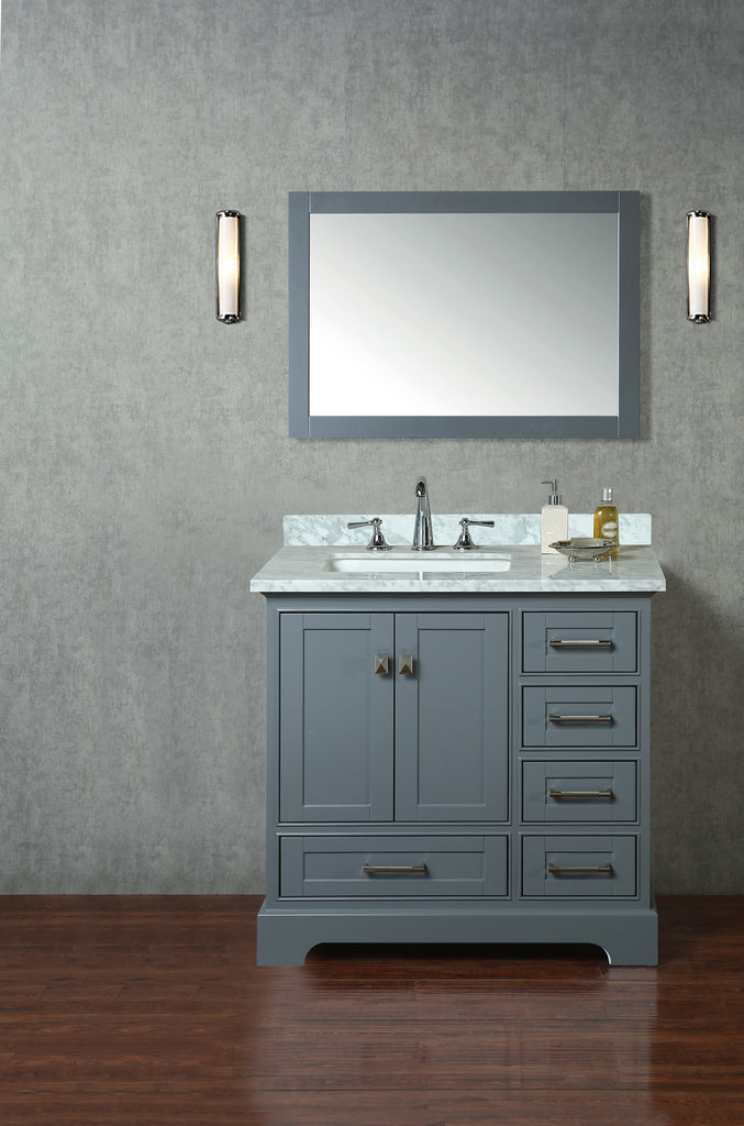 Stufurhome Newport 36 Inch Grey Single Bathroom Vanity With Mirror