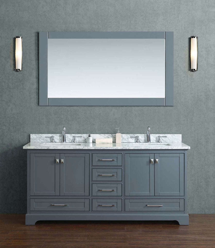 Stufurhome Newport Grey 72 Inch Double Bathroom Vanity With Mirror