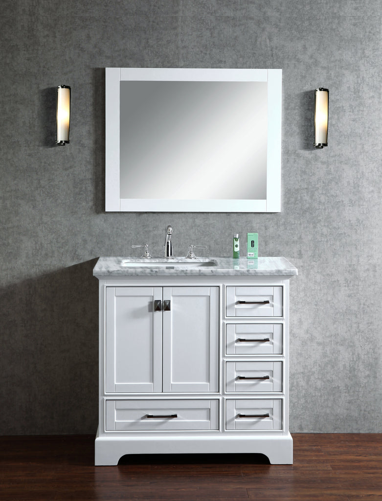 Stufurhome Newport White 36 Inch Single Bathroom Vanity With Mirror