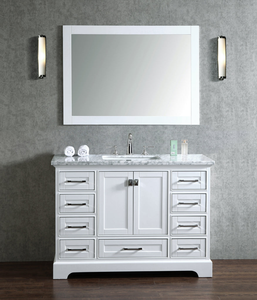 Front view 48 inch stufurhome newport single bathroom vanity with mirror white