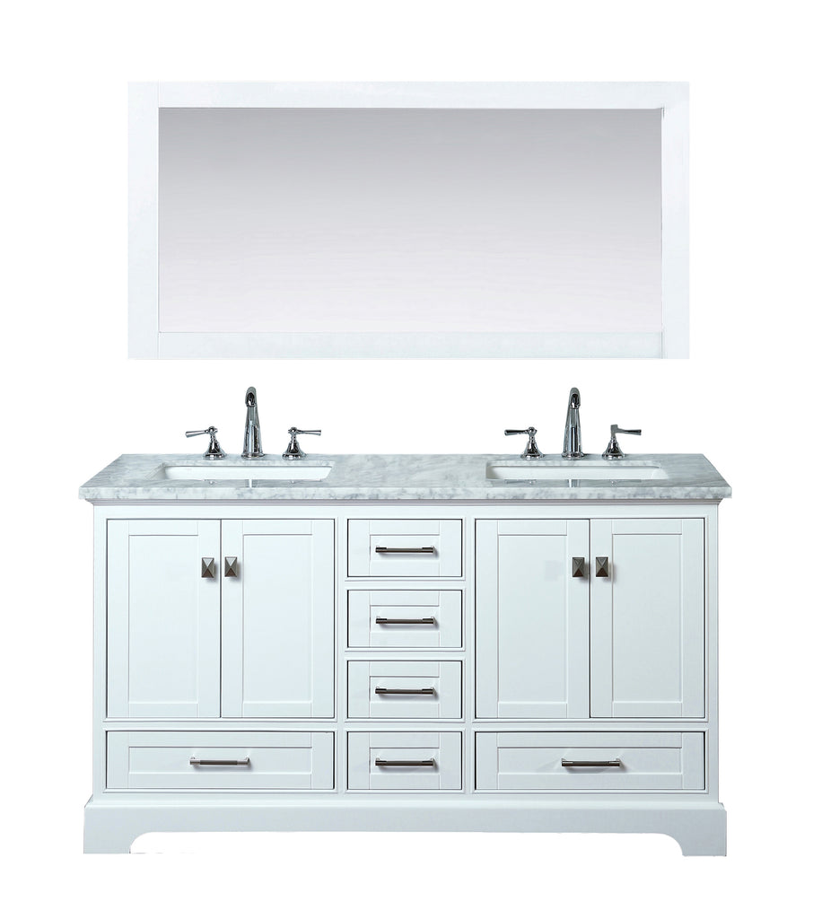 Stufurhome Newport White 60 Inch Double Bathroom Vanity With Mirror