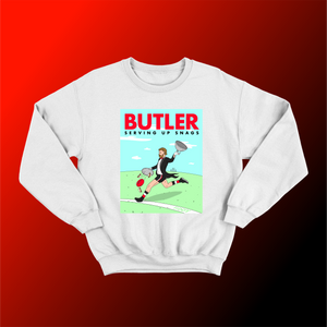 BUTLER: WHITE JUMPER