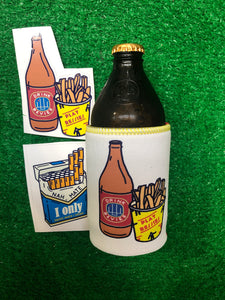 BEER&CHIPS STUBBY WITH 2xSTICKERS