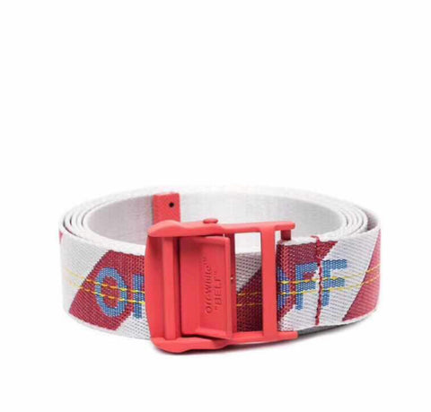 Off-White Men's Industrial Logo-Web Belt- White/Red