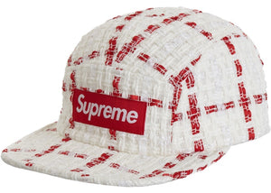 Supreme Ribbon Boucle Camp Cap White