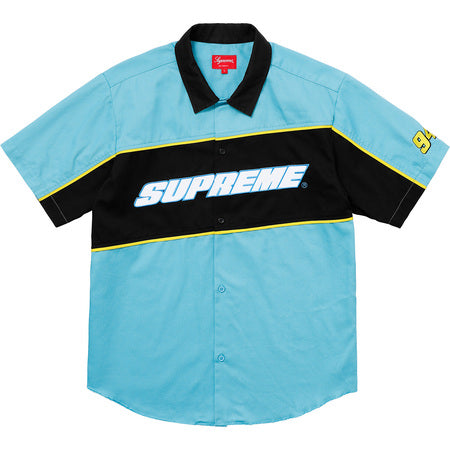 Supreme C0l0r Bl0cked W0rk Shirt- Bright Blue L