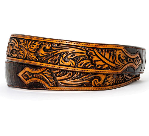 Tooled Brown Croc Belt
