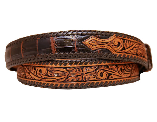 Tooled Crocodile Belt