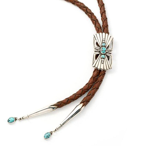 Silver Fly Turquoise Bolo