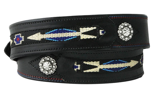 Hitched Inlay Leather Belt