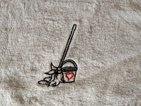 First version logo for The Love Mop Sex Towels -- a bucket and a mop
