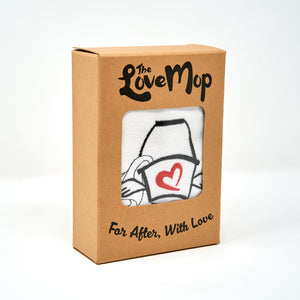 "The Love Mop Premium Cotton Sex Towel in kraft gift box. Box is printed with ""The Love Mop"" and ""For after, with Love"""