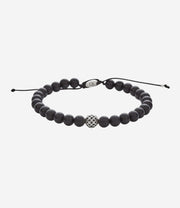 Sterling Silver Matte Black Onyx Adjustable Dotted Beaded Bracelet