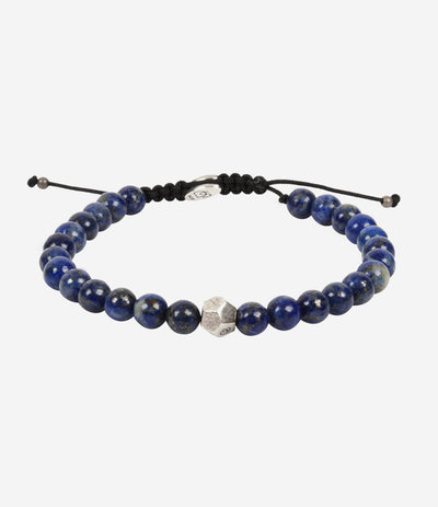 Sterling Silver Lapis Faceted Bead Bracelet