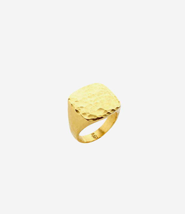 Gold Hand Hammered Flat Top Ring
