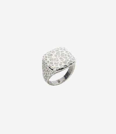 Sterling Silver Hand Hammered Flat Top Ring