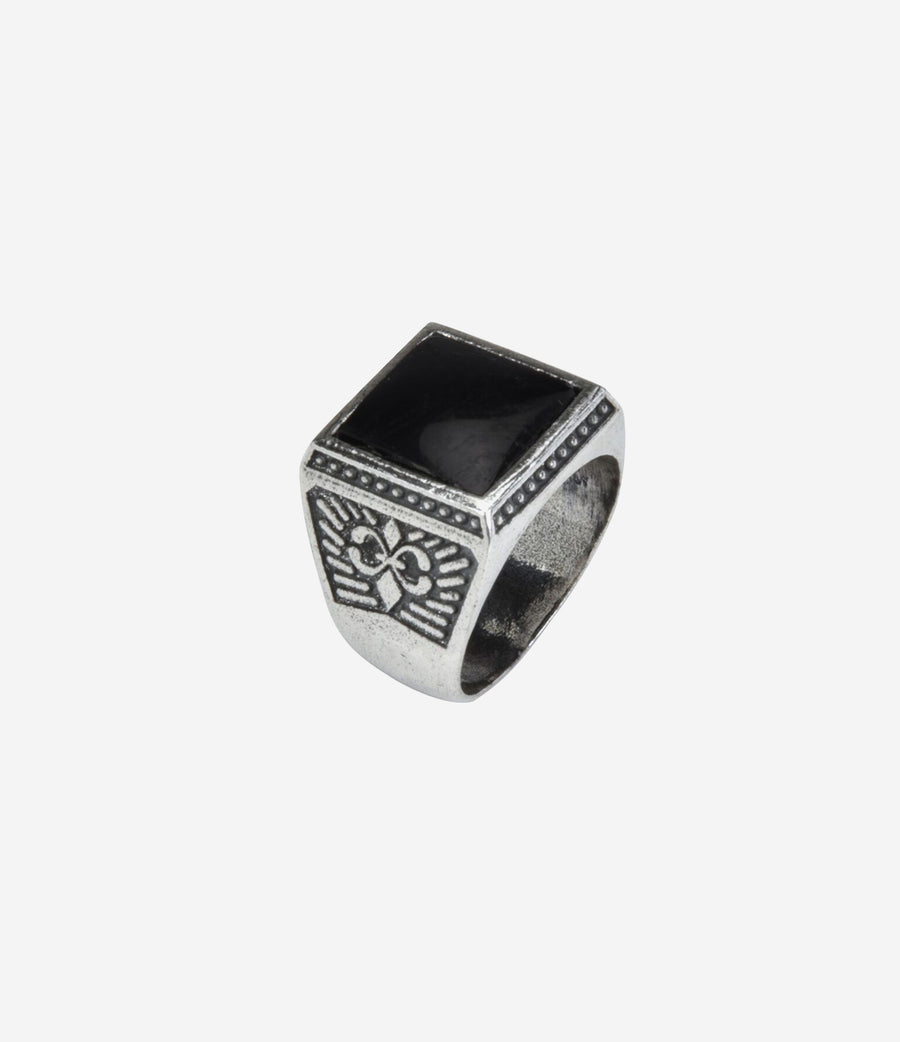 Sterling Silver Textured Signet Ring with Black Onyx Stone