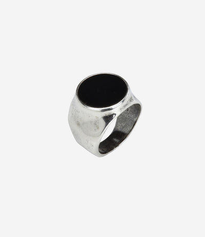 Sterling Silver Hammered Signet Ring w Black Onyx Stone