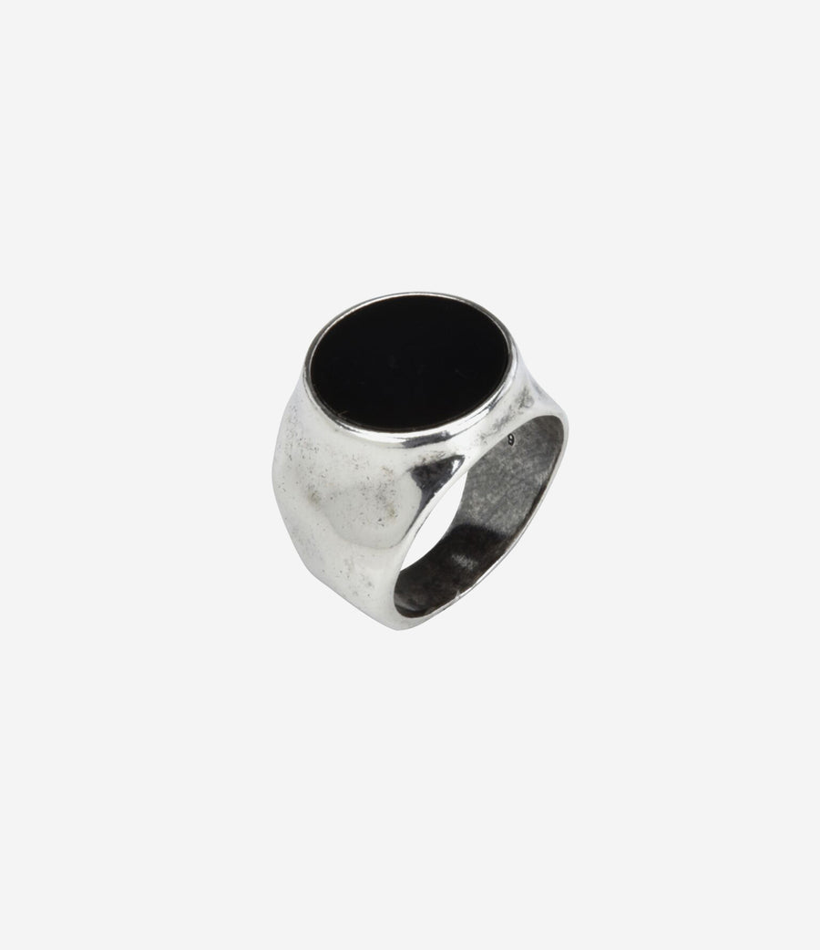 Sterling Silver Hammered Signet Ring with Black Onyx Stone