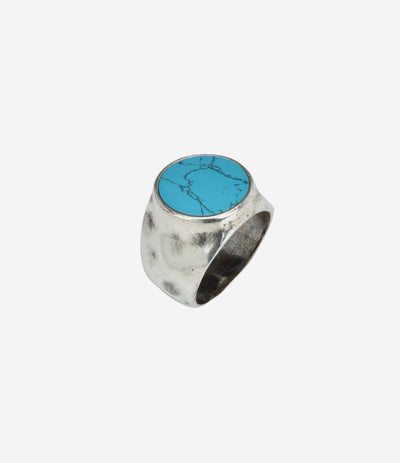 Sterling Silver Hammered Signet Ring w Turquoise Stone