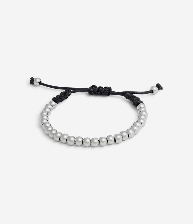 Silver Adjustable Beaded Bracelet