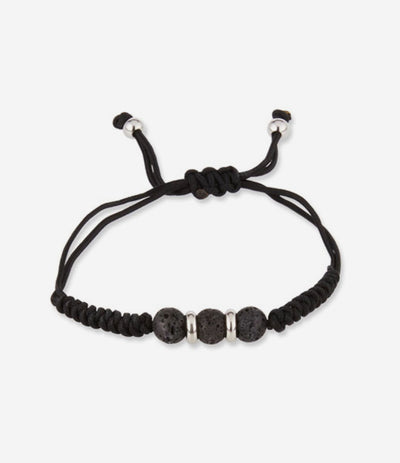 Black Lava Stone Adjustable Beaded Bracelet