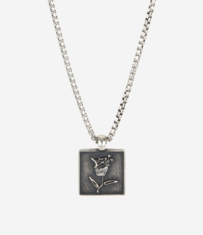 Sterling Silver Square Rose Necklace