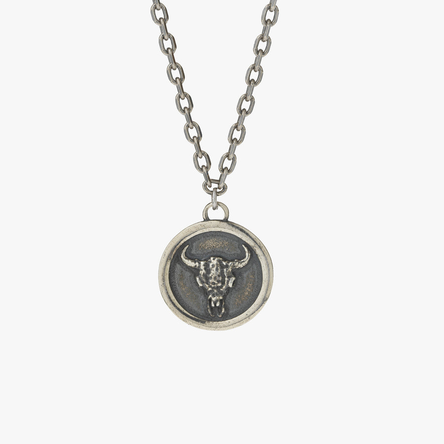 Sterling Silver Bull Skull Pendant Necklace