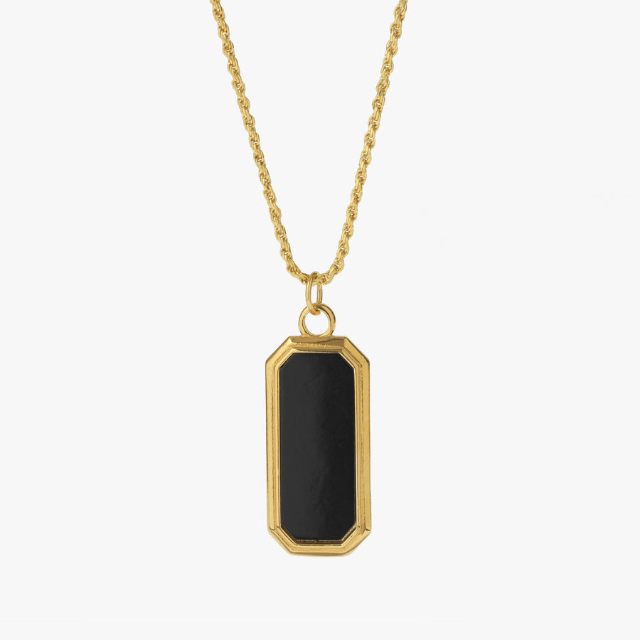 Gold Frame Pendant Necklace with Black Onyx