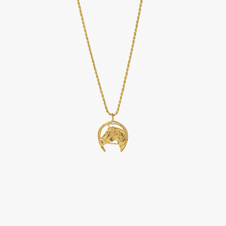 Gold Lucky Horseshoe Pendant Necklace