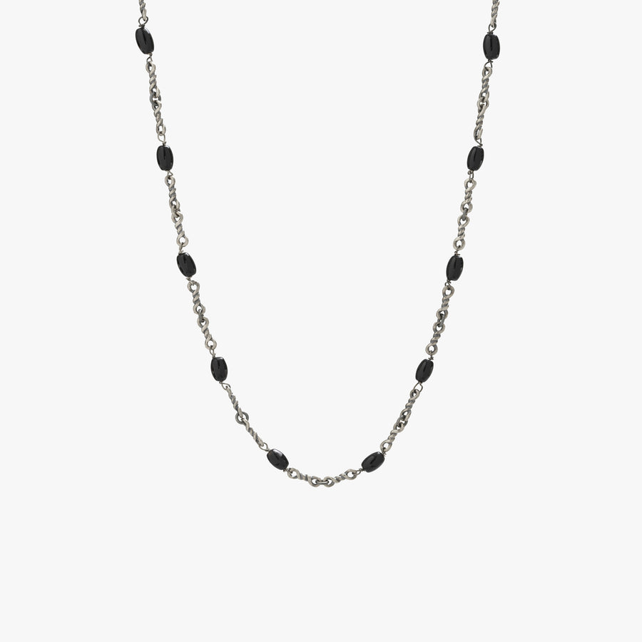 Sterling Silver Black Onyx Twisted Cable Chain Necklace