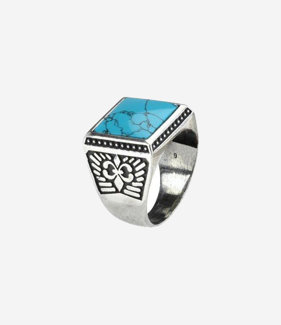 Sterling Silver Textured Signet Ring with Turquoise Stone