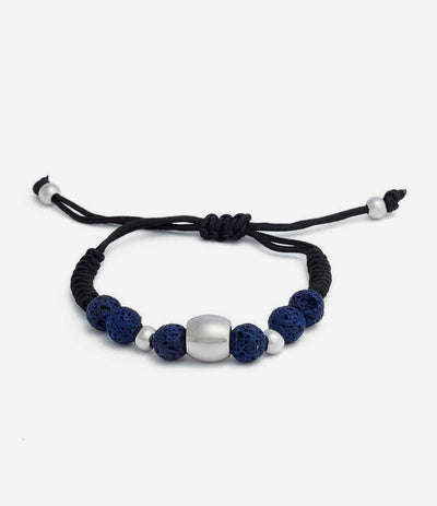 Blue Lava Stone Adjustable Beaded Bracelet
