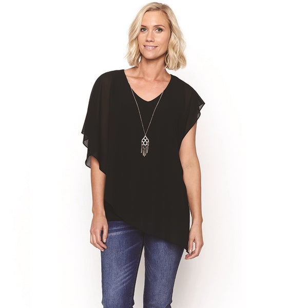 Sheer Layered Top W/Necklace